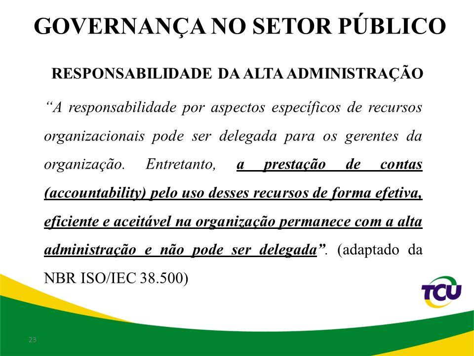 23 RESPONSABILIDADE DA ALTA ADMINISTRAÇÃO A responsabilidade por aspectos específicos de recursos organizacionais pode ser delegada para os gerentes da organização.