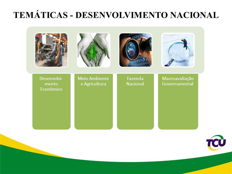 TEMÁTICAS - DESENVOLVIMENTO NACIONAL Desenvolvi- mento Econômico Meio Ambiente e Agricultura Fazenda Nacional Macroavaliação Governamental