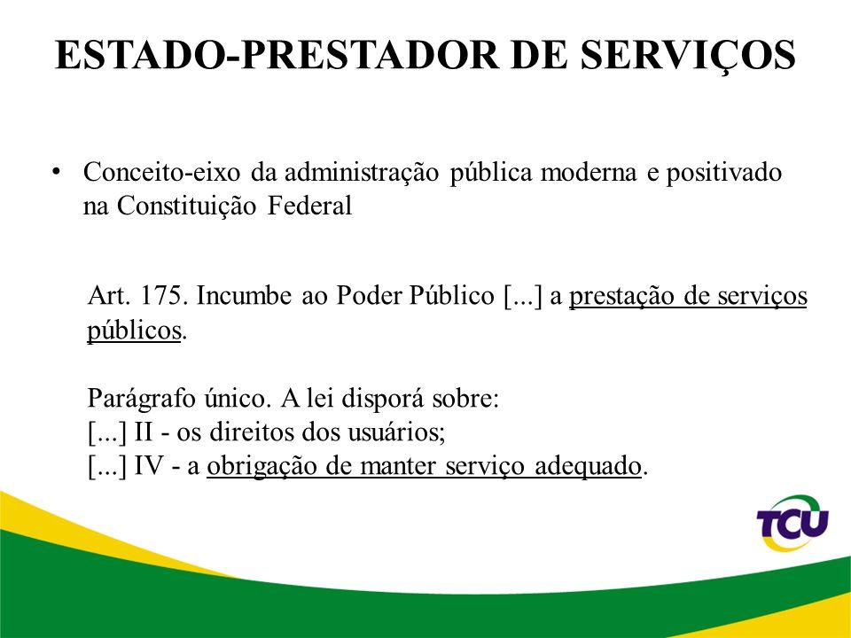 ESTADO-PRESTADOR DE SERVIÇOS Conceito-eixo da administração pública moderna e positivado na Constituição Federal Art.