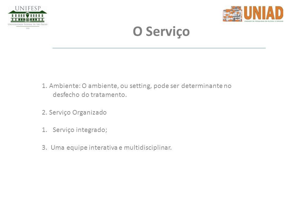 O Serviço 1. Ambiente: O ambiente, ou setting, pode ser determinante no desfecho do tratamento. 2. Serviço Organizado 1.Serviço integrado; 3. Uma equi