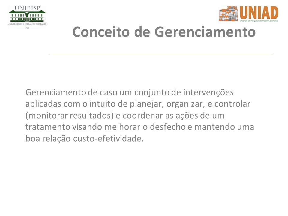 Conceito de Gerenciamento Gerenciamento de caso um conjunto de intervenções aplicadas com o intuito de planejar, organizar, e controlar (monitorar res