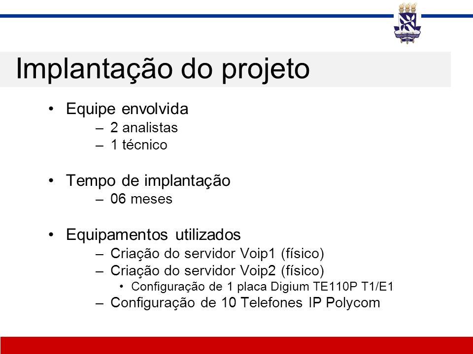 Implantação do projeto Equipe envolvida –2 analistas –1 técnico Tempo de implantação –06 meses Equipamentos utilizados –Criação do servidor Voip1 (fís