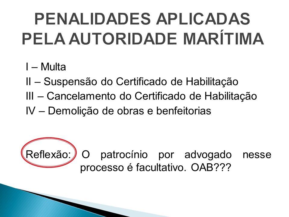 I – Multa II – Suspensão do Certificado de Habilitação III – Cancelamento do Certificado de Habilitação IV – Demolição de obras e benfeitorias Reflexã