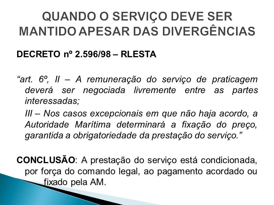 DECRETO nº 2.596/98 – RLESTA art. 6º, II – A remuneração do serviço de praticagem deverá ser negociada livremente entre as partes interessadas; III –