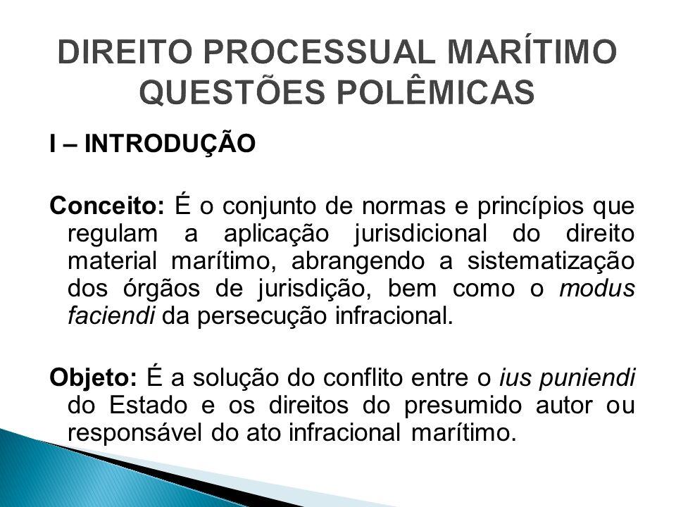I – INTRODUÇÃO Conceito: É o conjunto de normas e princípios que regulam a aplicação jurisdicional do direito material marítimo, abrangendo a sistemat
