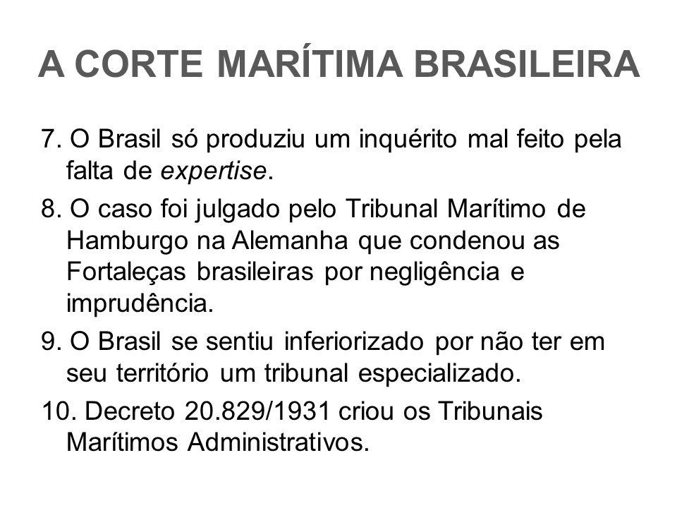 A CORTE MARÍTIMA BRASILEIRA 7. O Brasil só produziu um inquérito mal feito pela falta de expertise. 8. O caso foi julgado pelo Tribunal Marítimo de Ha