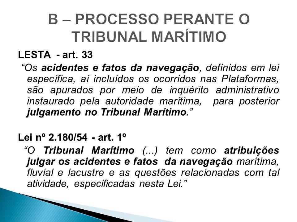 LESTA - art. 33 Os acidentes e fatos da navegação, definidos em lei específica, aí incluídos os ocorridos nas Plataformas, são apurados por meio de in