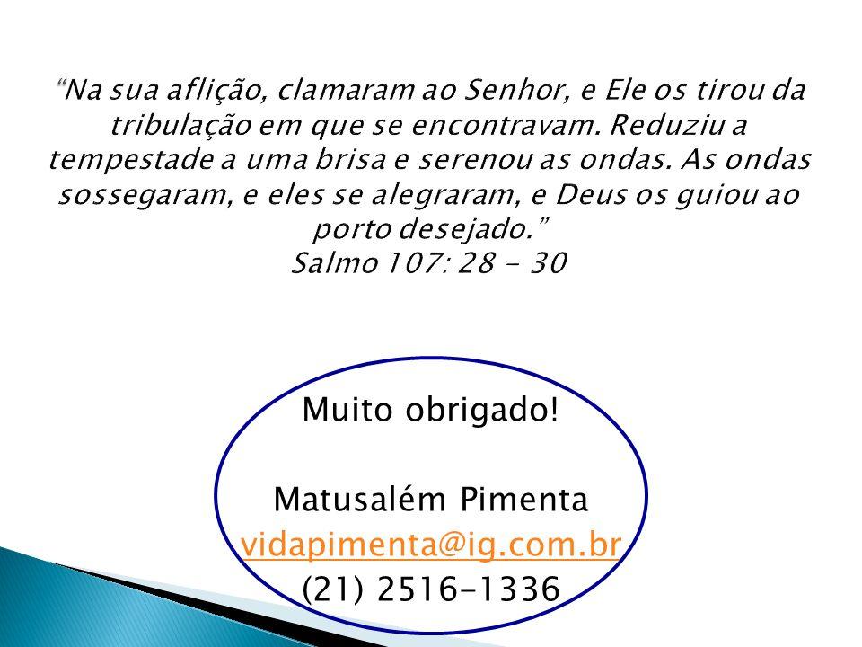 Muito obrigado! Matusalém Pimenta vidapimenta@ig.com.br (21) 2516-1336