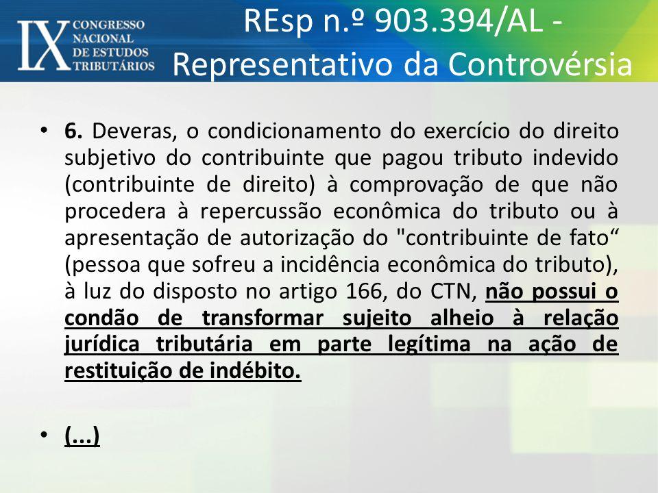 6. Deveras, o condicionamento do exercício do direito subjetivo do contribuinte que pagou tributo indevido (contribuinte de direito) à comprovação de