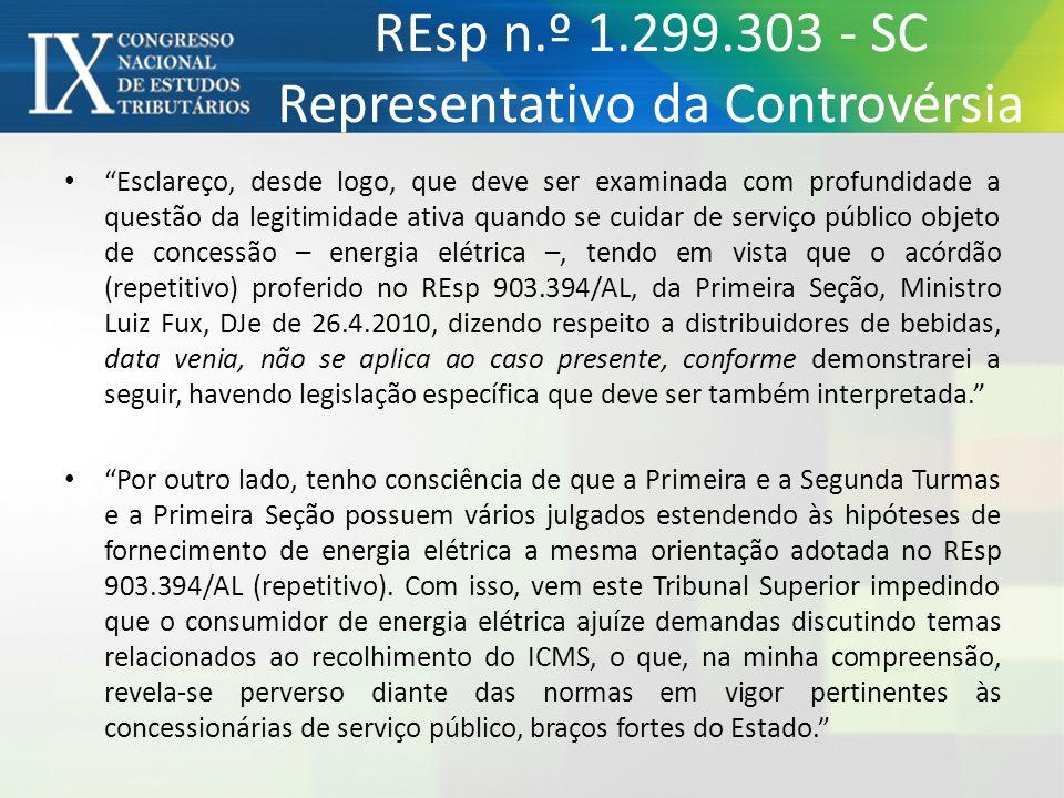 REsp n.º 1.299.303 - SC Representativo da Controvérsia Esclareço, desde logo, que deve ser examinada com profundidade a questão da legitimidade ativa