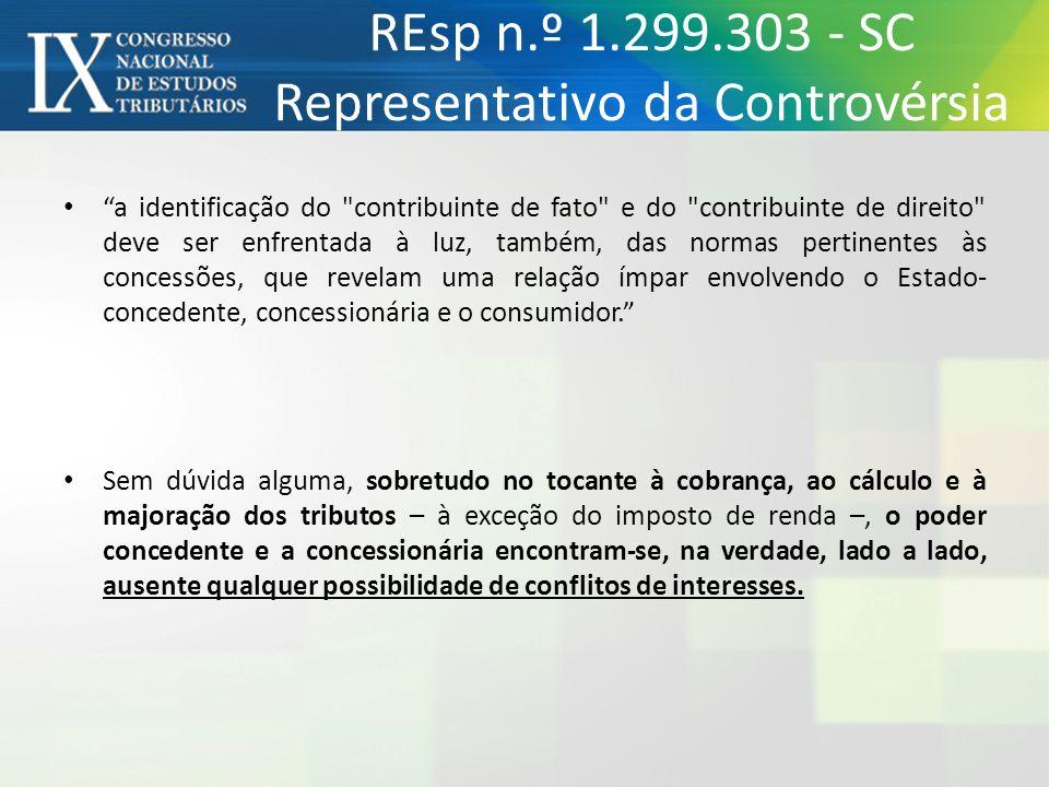 REsp n.º 1.299.303 - SC Representativo da Controvérsia a identificação do