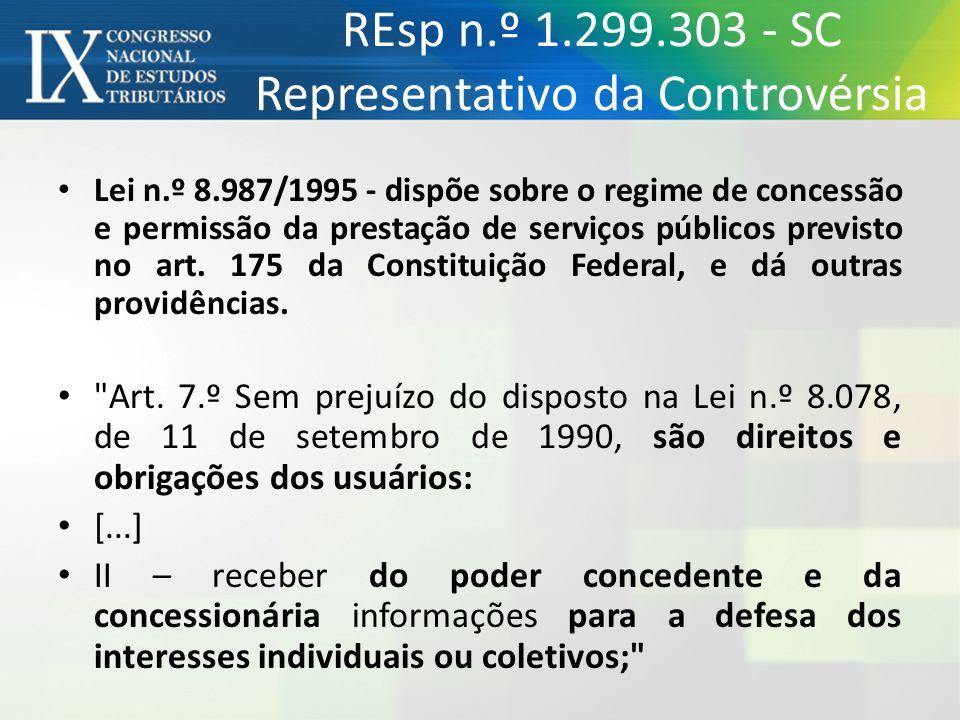 REsp n.º 1.299.303 - SC Representativo da Controvérsia Lei n.º 8.987/1995 - dispõe sobre o regime de concessão e permissão da prestação de serviços pú