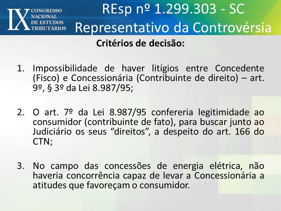 REsp nº 1.299.303 - SC Representativo da Controvérsia Critérios de decisão: 1.Impossibilidade de haver litígios entre Concedente (Fisco) e Concessioná