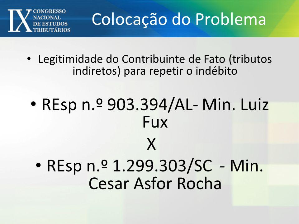Colocação do Problema Legitimidade do Contribuinte de Fato (tributos indiretos) para repetir o indébito REsp n.º 903.394/AL- Min. Luiz Fux X REsp n.º
