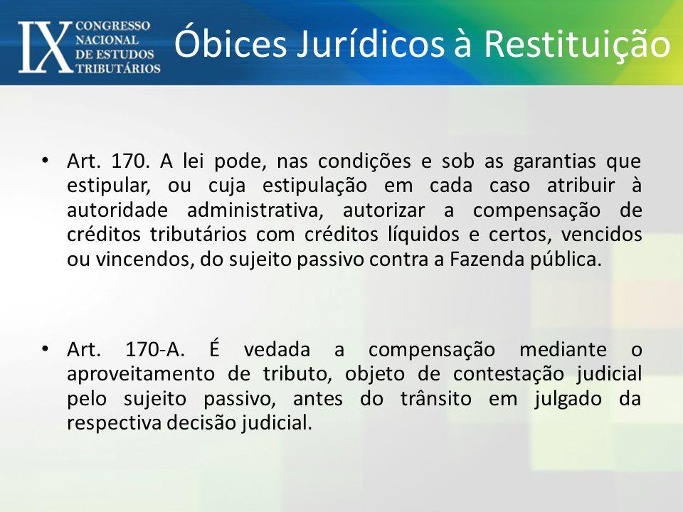 Óbices Jurídicos à Restituição Art. 170. A lei pode, nas condições e sob as garantias que estipular, ou cuja estipulação em cada caso atribuir à autor