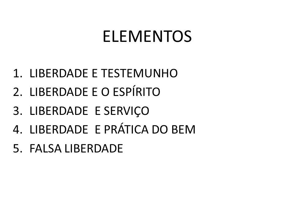 ELEMENTOS 1.LIBERDADE E TESTEMUNHO 2.LIBERDADE E O ESPÍRITO 3.LIBERDADE E SERVIÇO 4.LIBERDADE E PRÁTICA DO BEM 5.FALSA LIBERDADE