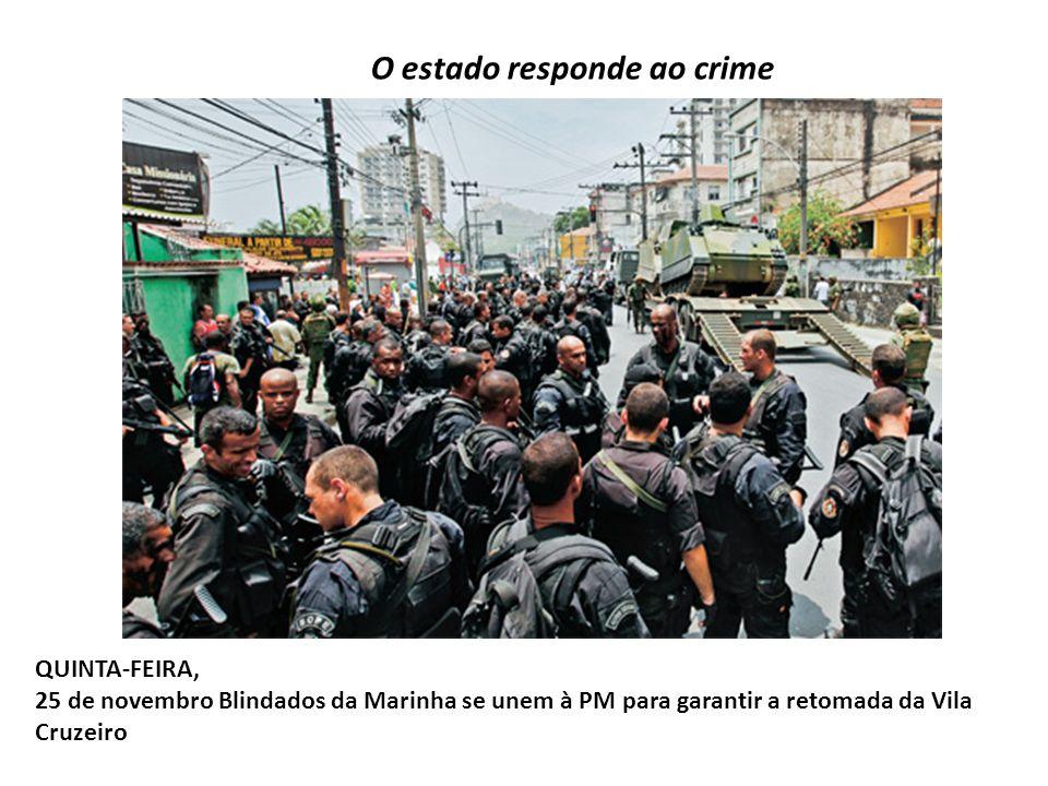 O estado responde ao crime QUINTA-FEIRA, 25 de novembro Blindados da Marinha se unem à PM para garantir a retomada da Vila Cruzeiro