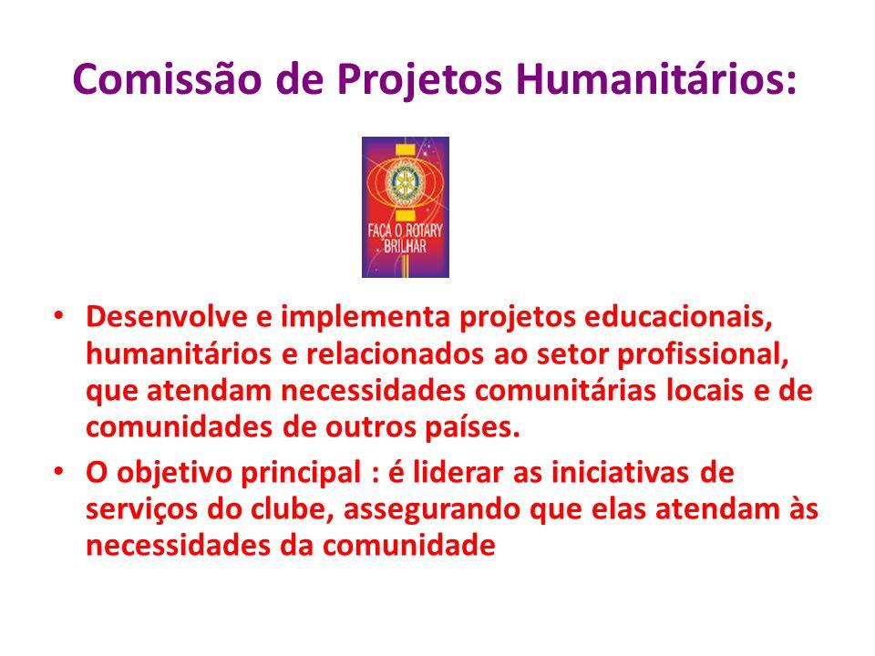 Comissão de Projetos Humanitários: Desenvolve e implementa projetos educacionais, humanitários e relacionados ao setor profissional, que atendam neces