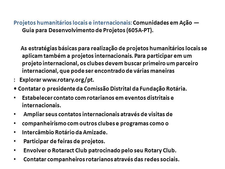 Projetos humanitários locais e internacionais: Comunidades em Ação Guia para Desenvolvimento de Projetos (605A-PT). As estratégias básicas para realiz