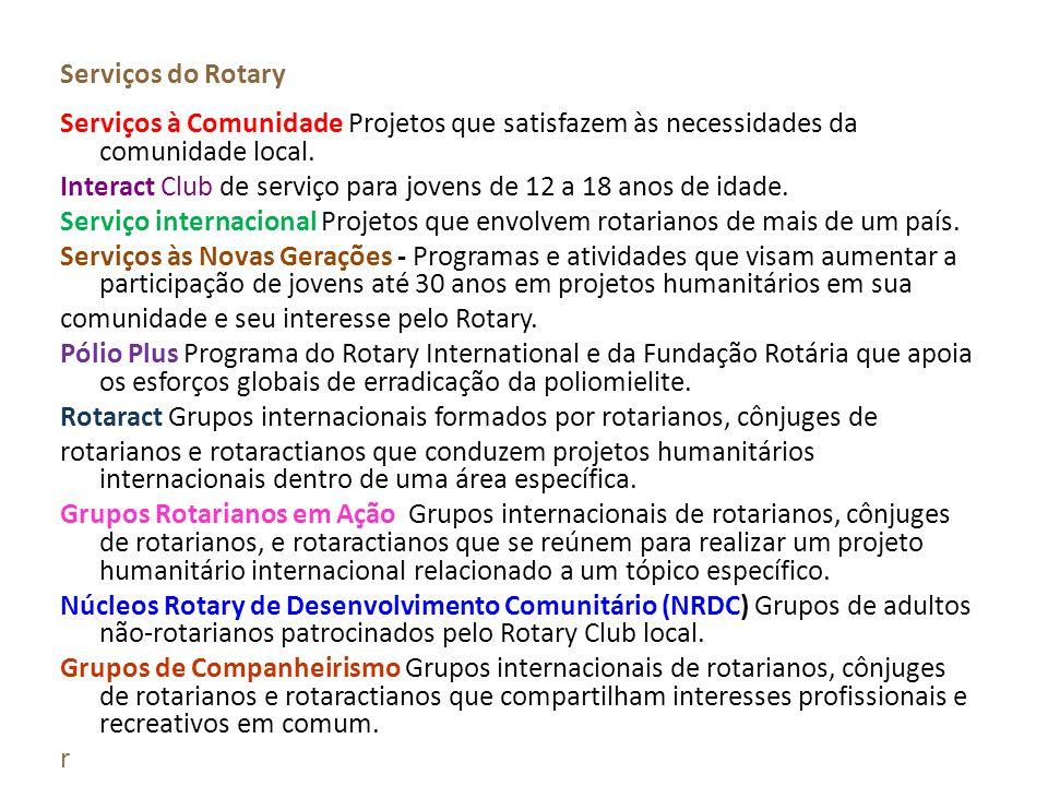 Serviços do Rotary Serviços à Comunidade Projetos que satisfazem às necessidades da comunidade local. Interact Club de serviço para jovens de 12 a 18