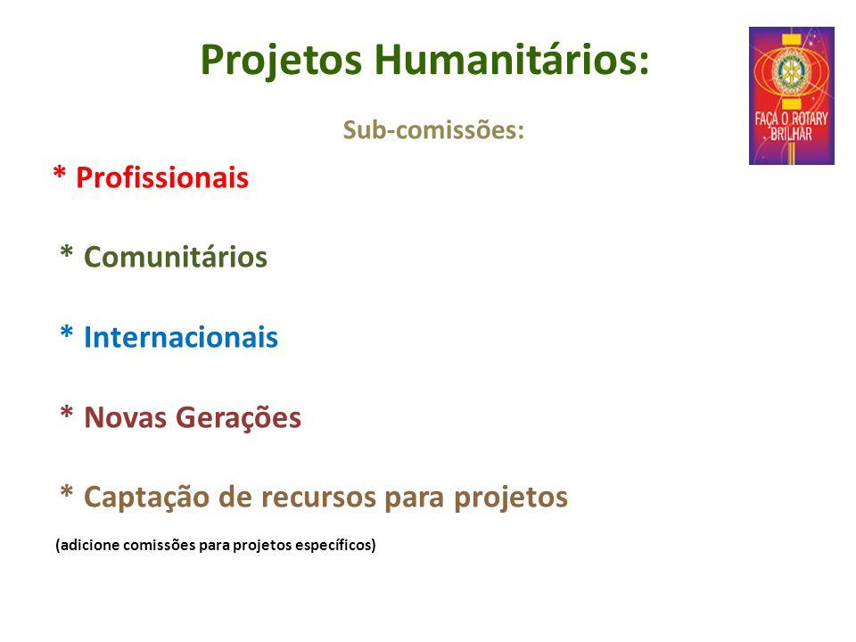 Projetos Humanitários: Sub-comissões: * Profissionais * Comunitários * Internacionais * Novas Gerações * Captação de recursos para projetos (adicione