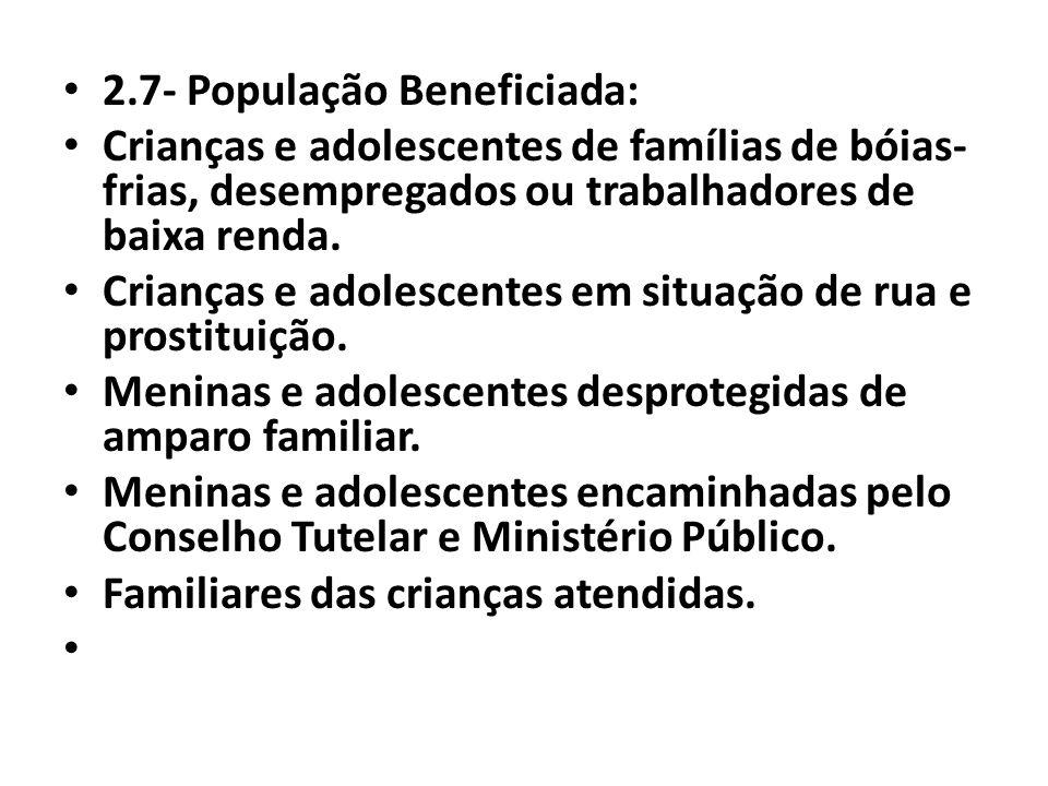 2.7- População Beneficiada: Crianças e adolescentes de famílias de bóias- frias, desempregados ou trabalhadores de baixa renda. Crianças e adolescente