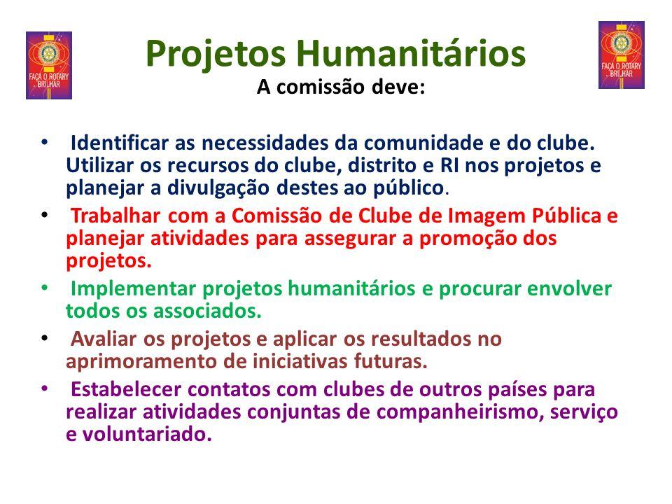 Projetos Humanitários A comissão deve: Identificar as necessidades da comunidade e do clube. Utilizar os recursos do clube, distrito e RI nos projetos