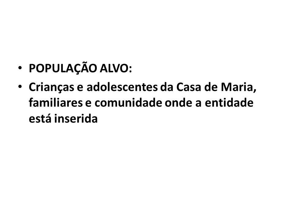 POPULAÇÃO ALVO: Crianças e adolescentes da Casa de Maria, familiares e comunidade onde a entidade está inserida
