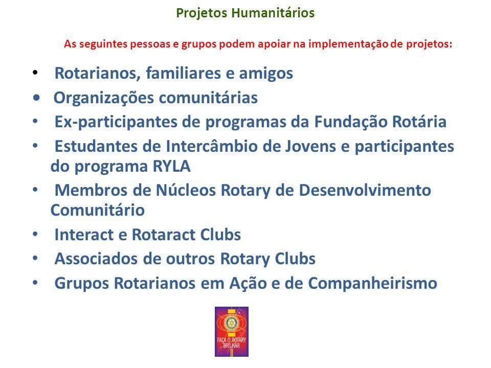 Projetos Humanitários As seguintes pessoas e grupos podem apoiar na implementação de projetos: Rotarianos, familiares e amigos Organizações comunitári