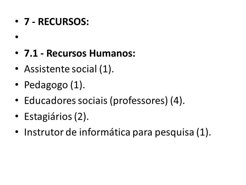 7 - RECURSOS: 7.1 - Recursos Humanos: Assistente social (1). Pedagogo (1). Educadores sociais (professores) (4). Estagiários (2). Instrutor de informá