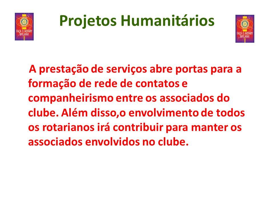 Projetos Humanitários A prestação de serviços abre portas para a formação de rede de contatos e companheirismo entre os associados do clube. Além diss