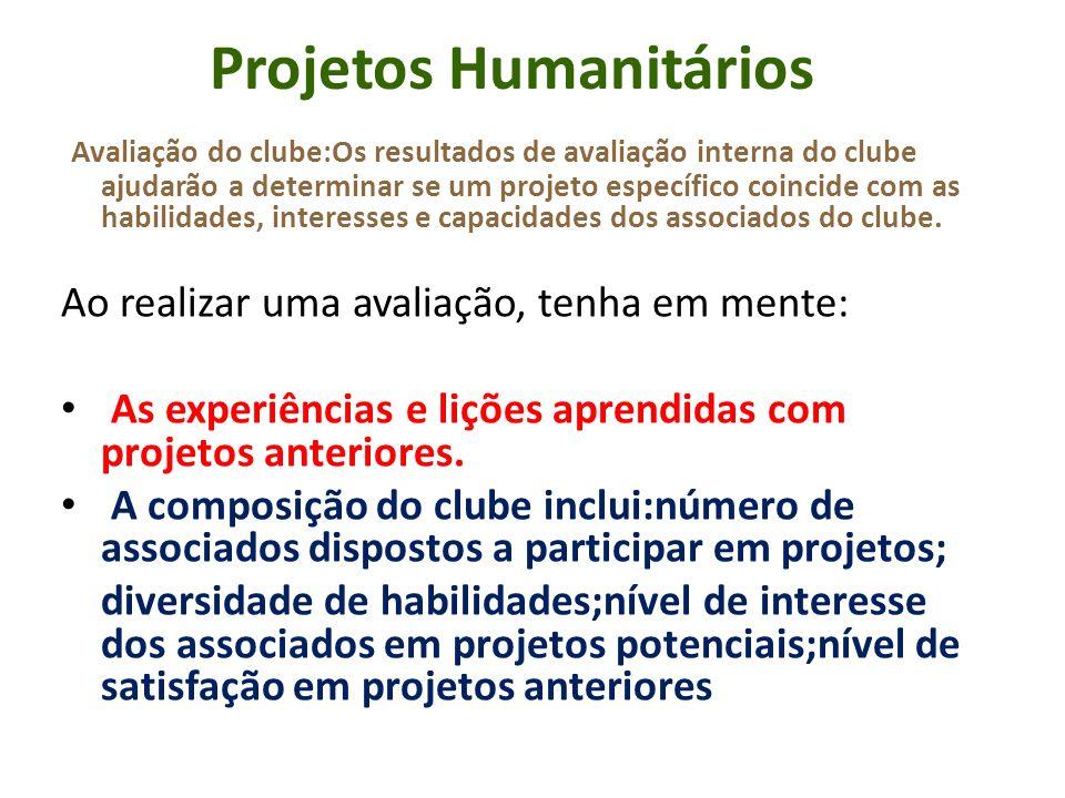 Projetos Humanitários Avaliação do clube:Os resultados de avaliação interna do clube ajudarão a determinar se um projeto específico coincide com as ha