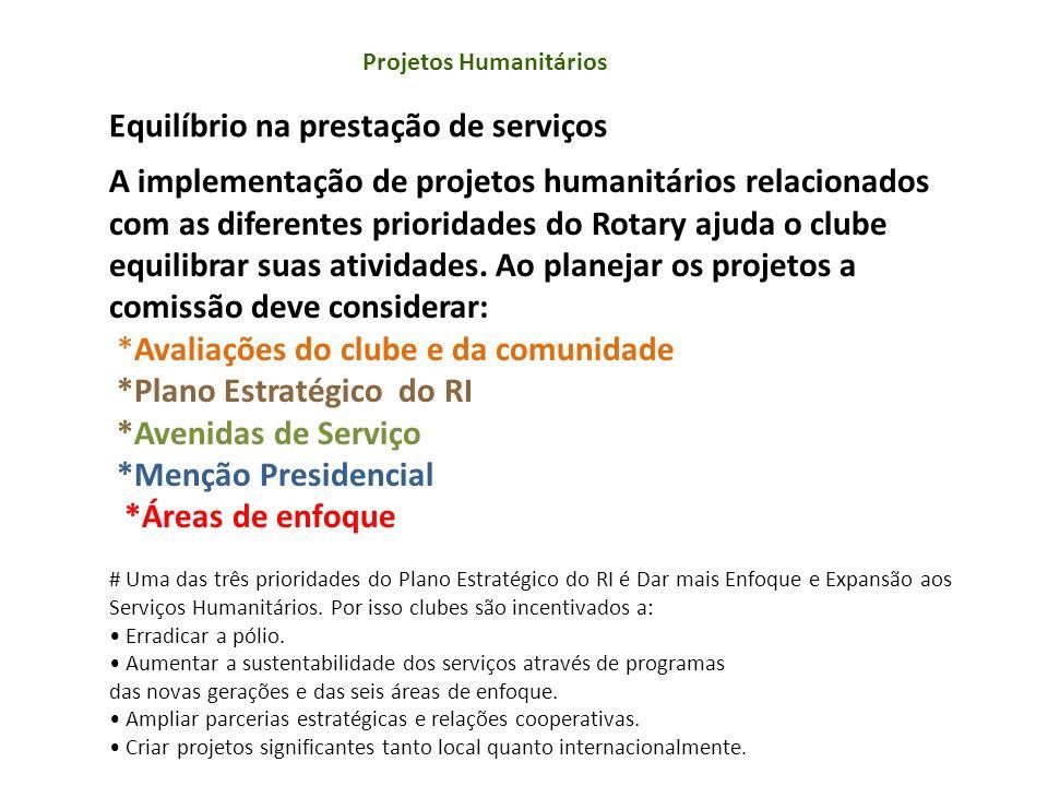 Projetos Humanitários A implementação de projetos humanitários relacionados com as diferentes prioridades do Rotary ajuda o clube equilibrar suas ativ