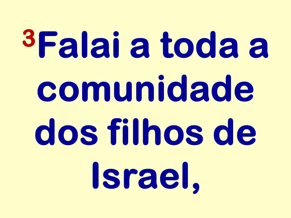 3 Falai a toda a comunidade dos filhos de Israel,