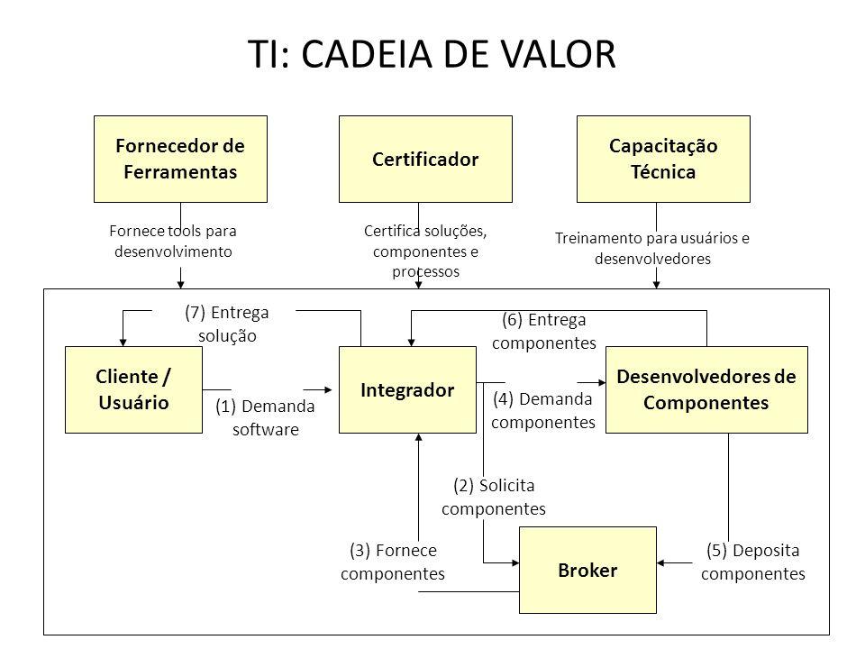 TI: CADEIA DE VALOR Fornecedor de Ferramentas Certificador Capacitação Técnica Cliente / Usuário Integrador Desenvolvedores de Componentes (1) Demanda software (4) Demanda componentes (2) Solicita componentes Broker (3) Fornece componentes (5) Deposita componentes (6) Entrega componentes (7) Entrega solução Fornece tools para desenvolvimento Certifica soluções, componentes e processos Treinamento para usuários e desenvolvedores