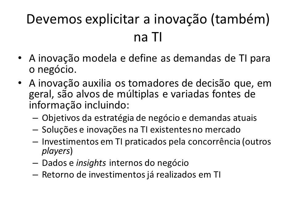 Devemos explicitar a inovação (também) na TI A inovação modela e define as demandas de TI para o negócio. A inovação auxilia os tomadores de decisão q
