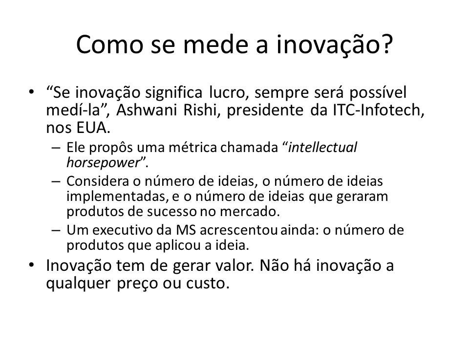 Como se mede a inovação? Se inovação significa lucro, sempre será possível medí-la, Ashwani Rishi, presidente da ITC-Infotech, nos EUA. – Ele propôs u