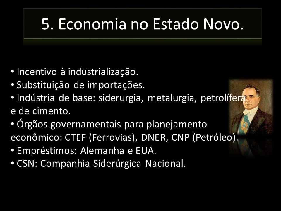 Incentivo à industrialização. Substituição de importações. Indústria de base: siderurgia, metalurgia, petrolífera e de cimento. Órgãos governamentais