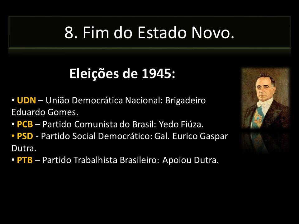 Eleições de 1945: UDN – União Democrática Nacional: Brigadeiro Eduardo Gomes. PCB – Partido Comunista do Brasil: Yedo Fiúza. PSD - Partido Social Demo