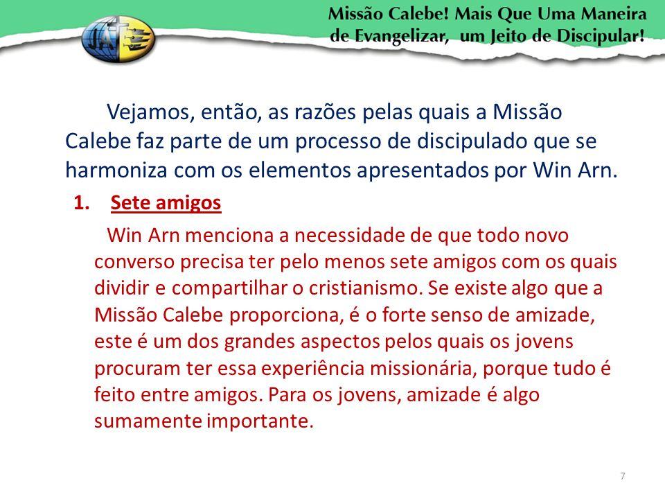 Vejamos, então, as razões pelas quais a Missão Calebe faz parte de um processo de discipulado que se harmoniza com os elementos apresentados por Win A