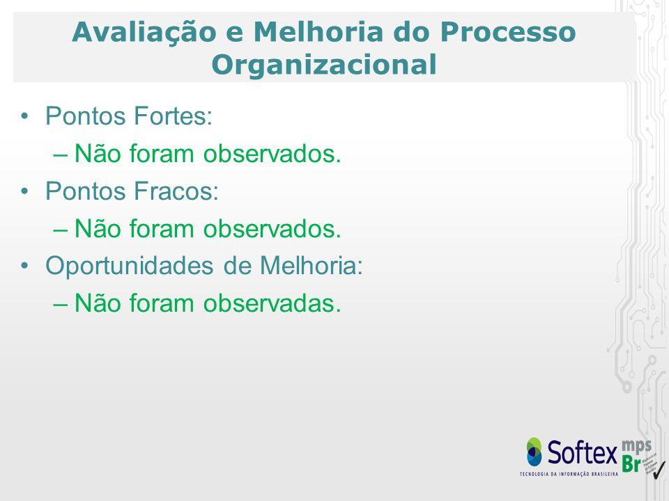 Avaliação e Melhoria do Processo Organizacional Pontos Fortes: –Não foram observados.