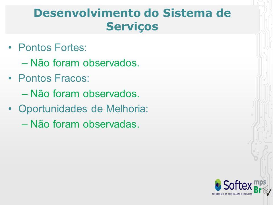 Desenvolvimento do Sistema de Serviços Pontos Fortes: –Não foram observados. Pontos Fracos: –Não foram observados. Oportunidades de Melhoria: –Não for