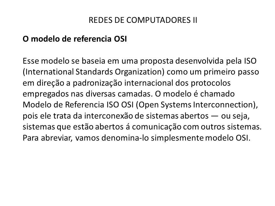 REDES DE COMPUTADORES II O modelo de referencia OSI Esse modelo se baseia em uma proposta desenvolvida pela ISO (International Standards Organization)