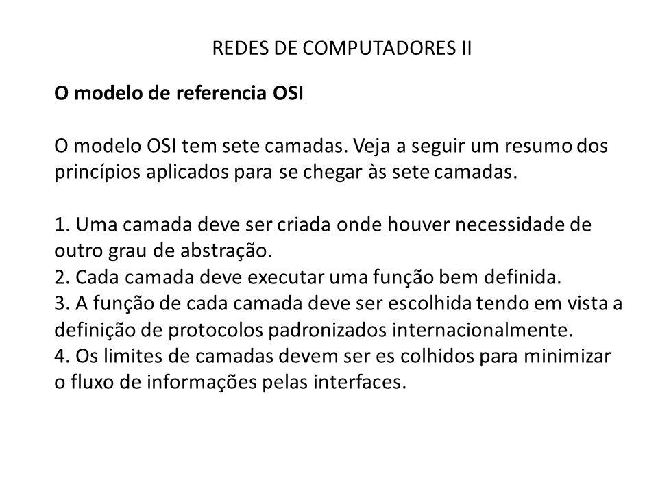 REDES DE COMPUTADORES II O modelo de referencia OSI O modelo OSI tem sete camadas. Veja a seguir um resumo dos princípios aplicados para se chegar às
