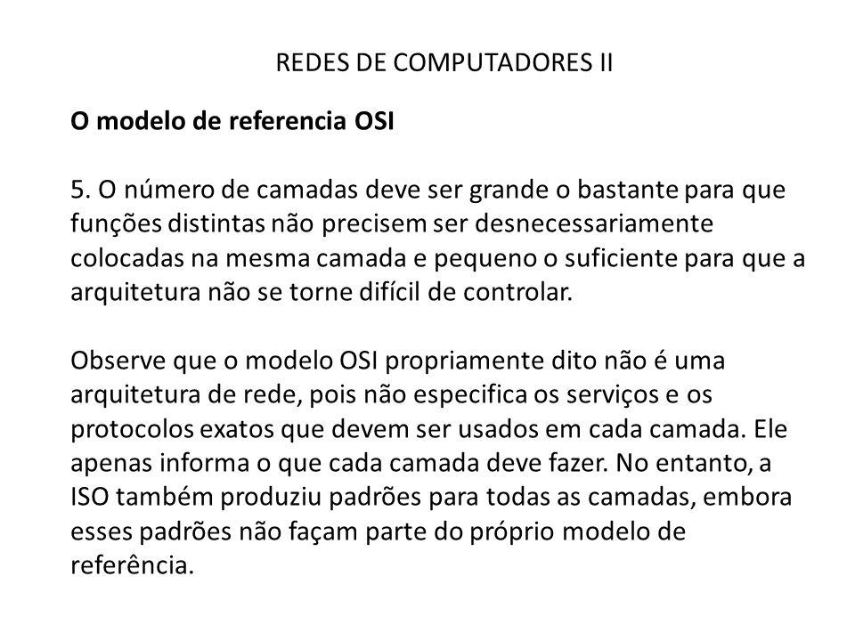 REDES DE COMPUTADORES II O modelo de referencia OSI 5. O número de camadas deve ser grande o bastante para que funções distintas não precisem ser desn