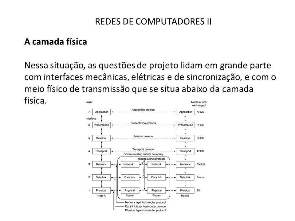 REDES DE COMPUTADORES II A camada física Nessa situação, as questões de projeto lidam em grande parte com interfaces mecânicas, elétricas e de sincron