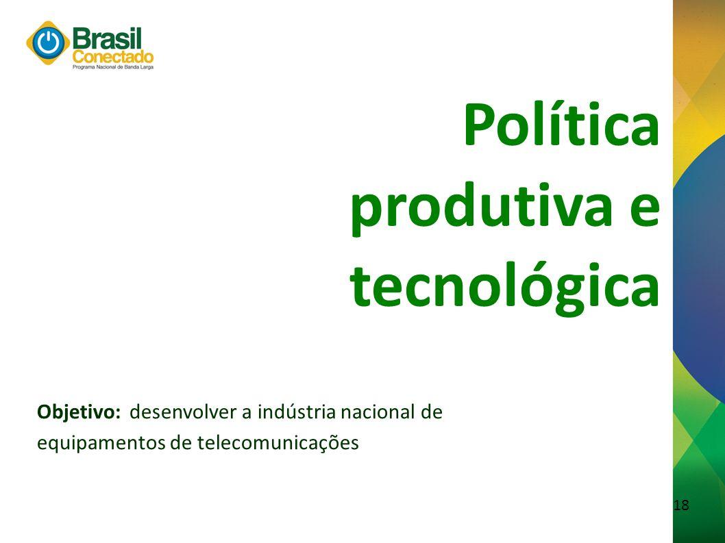 19 Foco do PNBL Produto com Tecnologia Nacional Produto Importado Produto com PPB* * Processo Produtivo Básico Política produtiva e tecnológica