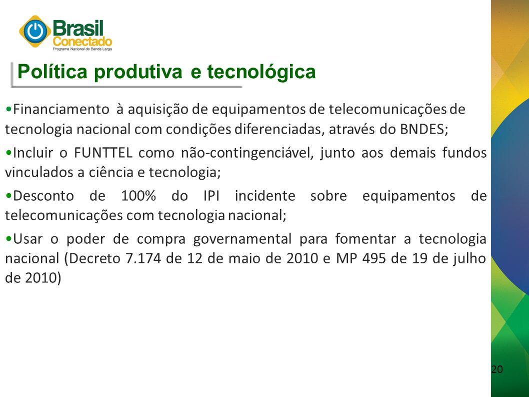 21 Rede Nacional Objetivo: usar as fibras sob domínio da União para melhorar a infraestrutura de banda larga do País