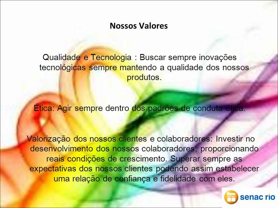 Nossos Valores Qualidade e Tecnologia : Buscar sempre inovações tecnológicas sempre mantendo a qualidade dos nossos produtos.