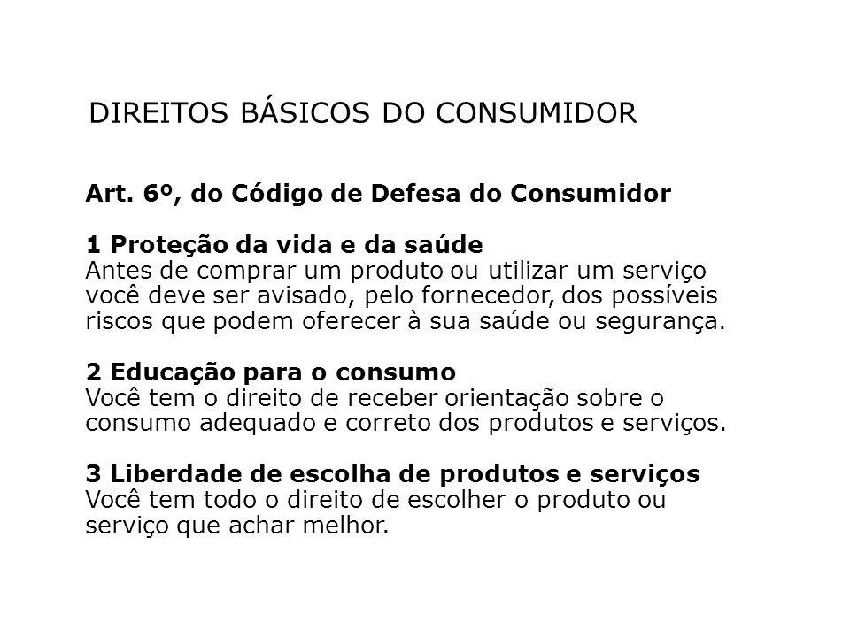 DIREITOS BÁSICOS DO CONSUMIDOR Art. 6º, do Código de Defesa do Consumidor 1 Proteção da vida e da saúde Antes de comprar um produto ou utilizar um ser